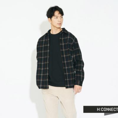 H:CONNECT 韓國品牌 男裝 - 毛呢簡約格紋襯衫 - 黑