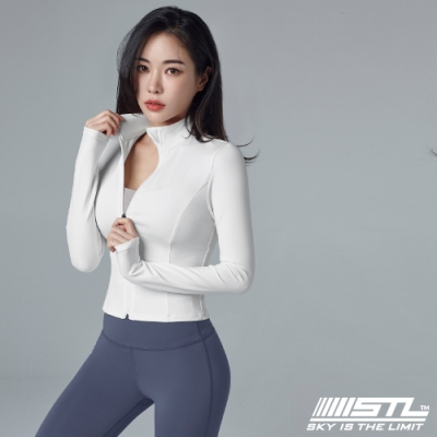 STL Yoga Essence Crop Jacket 韓國瑜珈 運動機能 合身立領外套 本質短版 白
