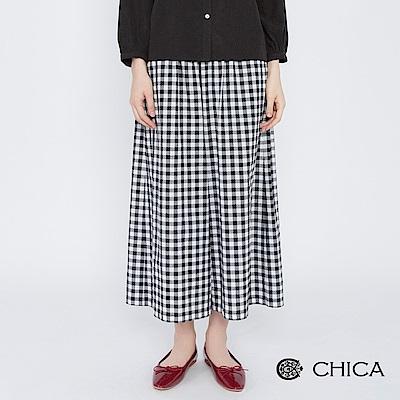 CHICA 田園詩篇黑白格鬆緊寬管褲(1色)