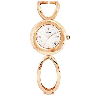 SIGMA 閃耀晶鑽珍珠貝時尚手錶-白X玫瑰金/25mm