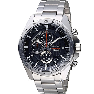 SEIKO 精工 三眼競速計時腕錶(SSB319P1)-黑