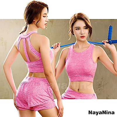 運動內衣 無鋼圈 極簡有型美背無鋼圈運動內衣M~XL(粉) Naya Nina