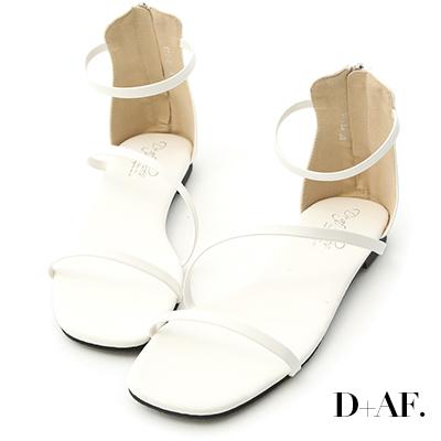 D+AF 簡約涼夏.一字斜細帶後拉鍊涼鞋*白