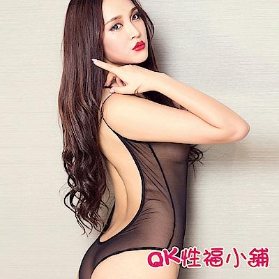 QK性福小舖 高檔透視情趣泳衣真人高叉 QK031