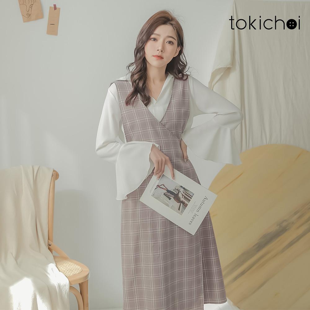 東京著衣 溫柔感細膩格紋後鬆緊吊帶裙-S.M.L