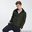 GIORDANO 男裝連帽立領內植絨休閒外套-58 花紗綠/標誌黑