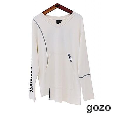 gozo 配色壓線字母膠印造型上衣(二色)