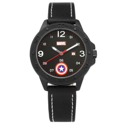 Disney 迪士尼 漫威系列 美國隊長 盾牌 兒童 卡通錶 皮革手錶-黑/36mm