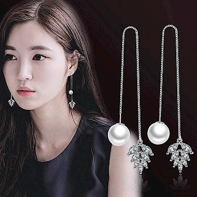 梨花HaNA  韓國S925銀針珍珠葉語耳線耳環