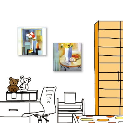 24mama掛畫-二聯式 藝術抽象 花卉 油畫風無框畫 30X30cm-餐廳的花瓶