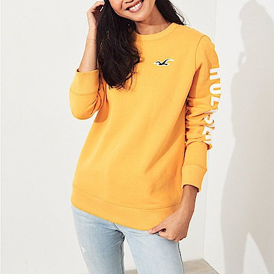 HCO Hollister 海鷗 經典刺繡大海鷗文字長袖T恤(女)-黃色