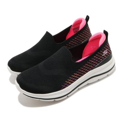 Skechers 休閒鞋 Go Walk Stretch Fit 女鞋 寬楦 緩震 輕盈 舒適 透氣瑜珈鞋墊 黑 粉 124385WBKMT