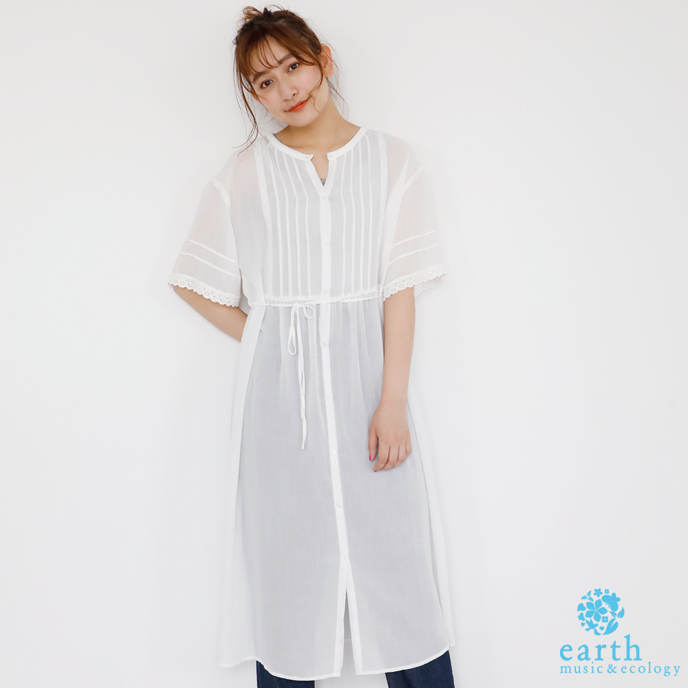 earth music 蕾絲拼接綁帶洋裝/罩衫