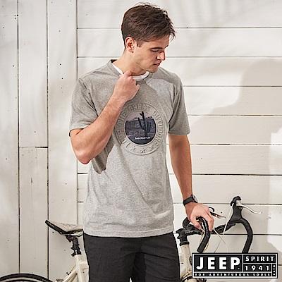 JEEP 自由冒險立體圖騰短袖TEE-灰色