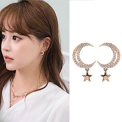 梨花HaNA 無耳洞韓國星月焦點玫瑰金點綴耳環夾式