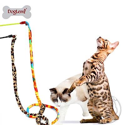 DYY》帶鈴鐺逗貓棒彩色布條逗貓棒桿長35cm布條長100cm