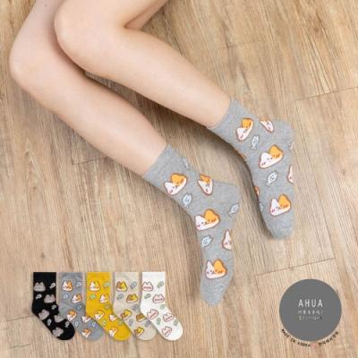 阿華有事嗎  韓國襪子 滿版立體毛毛貓咪小魚中筒襪 韓妞必備 正韓百搭純棉襪