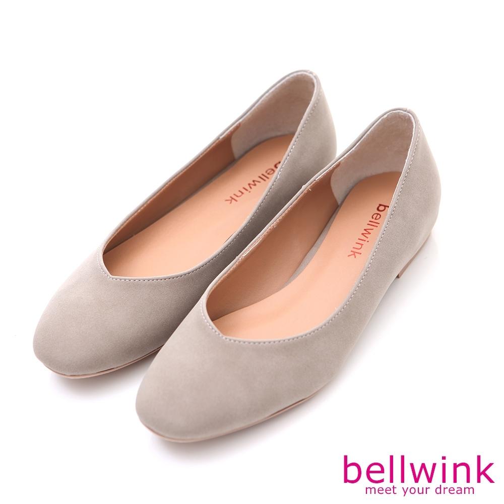 bellwink-圓方弧形頭平低包鞋-灰-b9704gy