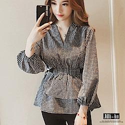 Jilli-ko 韓版燈籠袖收腰格子衫-黑格