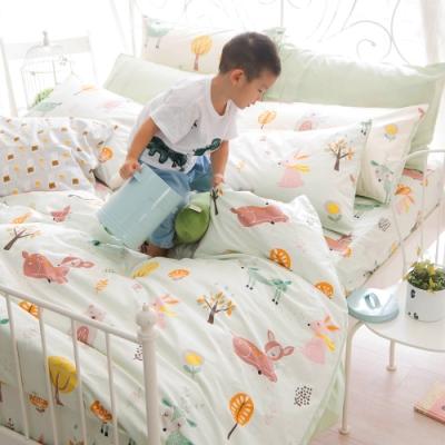OLIVIA 小森林 綠 特大雙人床包兩用被套四件組 300織精梳純棉 台灣製