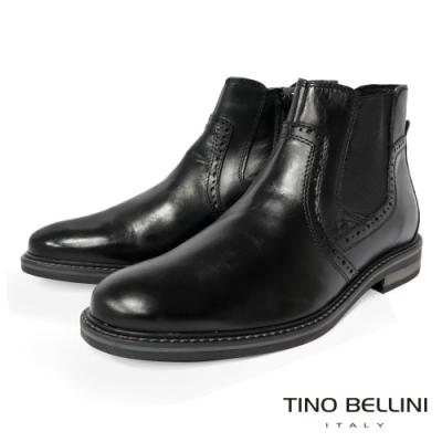 TINO BELLINI 男款英式雕花牛皮切爾西靴-黑