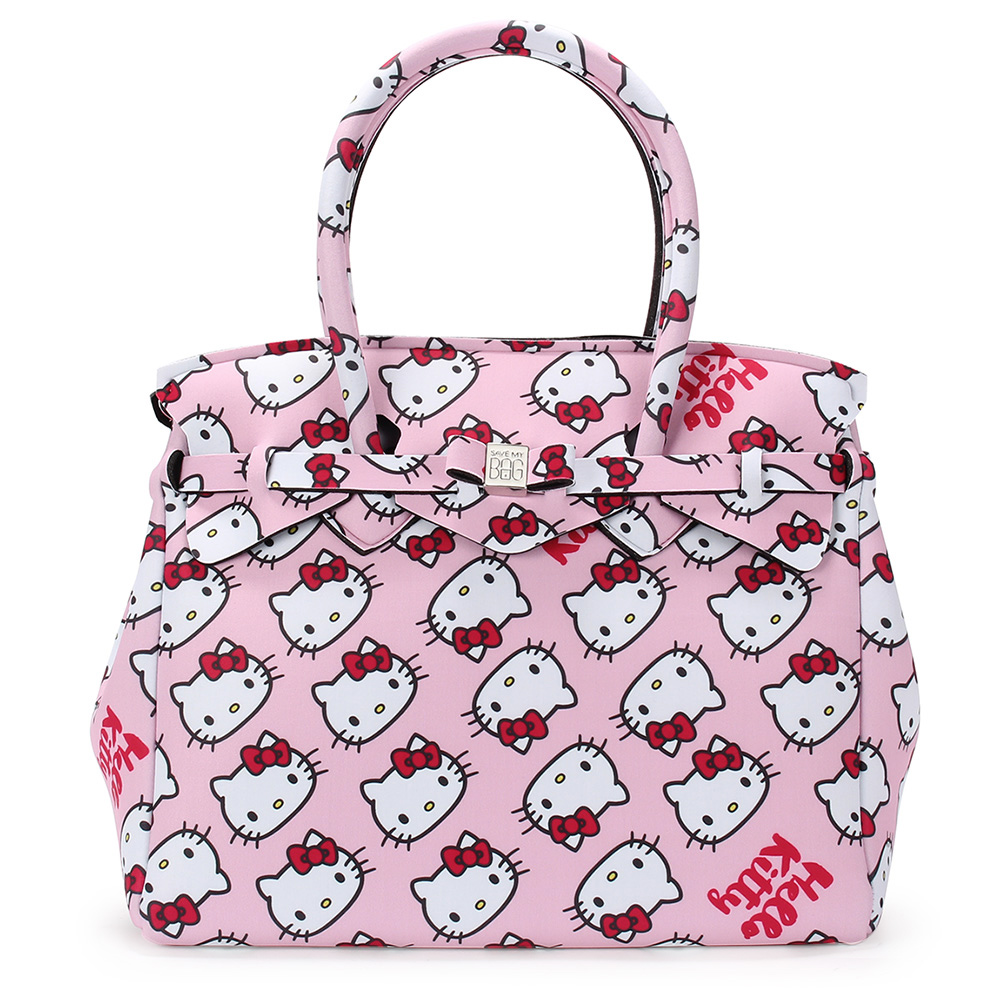 SAVE MY BAG Miss系列Hello Kitty輕量托特包-粉紅色