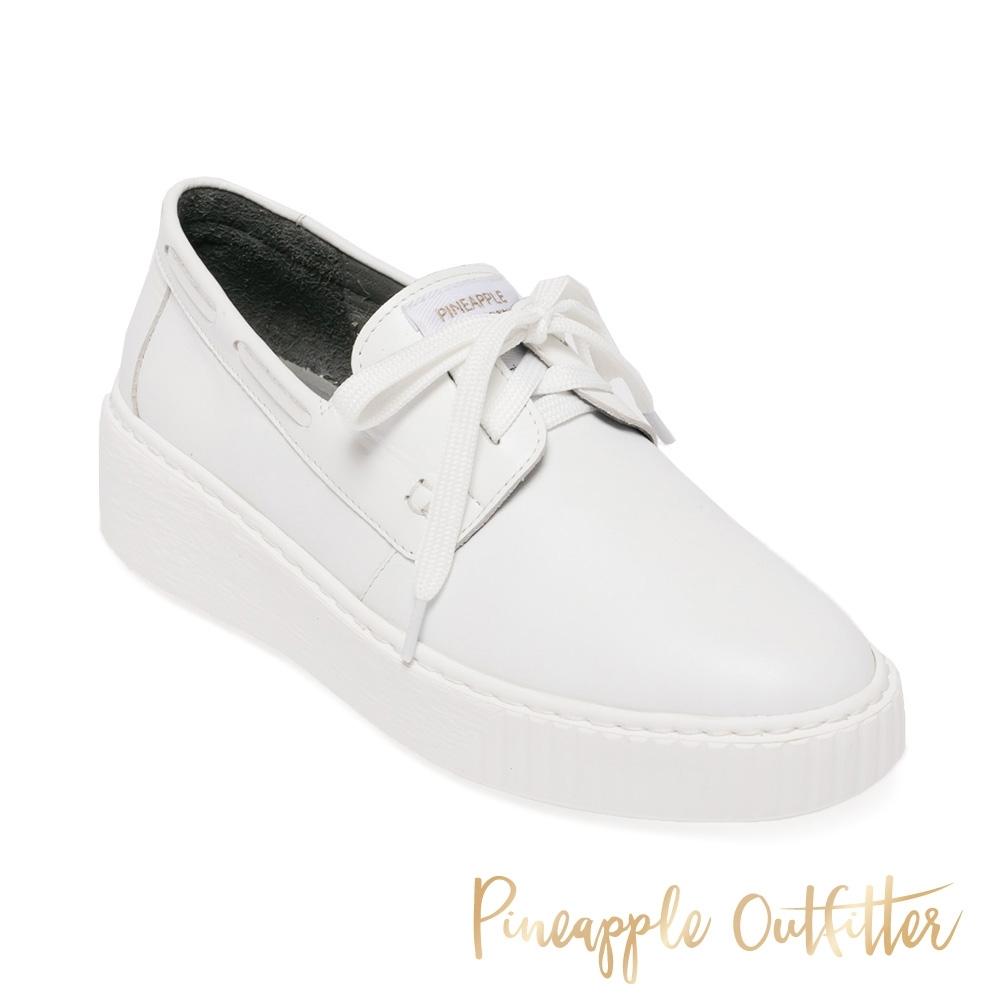 Pineapple Outfitter-CIANNA 簡約真皮柔軟綁帶平底鞋-白色