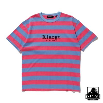 XLARGE S/S BORDER TEE撞色條紋短T-藍/桃紅