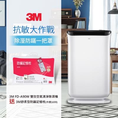 3M 雙效空氣清淨除濕機FD-A90W(加碼送3M舒柔型防蹣記憶枕) N95口罩濾淨原理