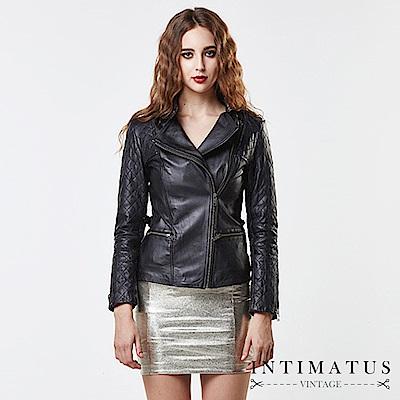 INTIMATUS 真皮 華麗菱格紋拼接立領小羊皮皮衣 經典黑