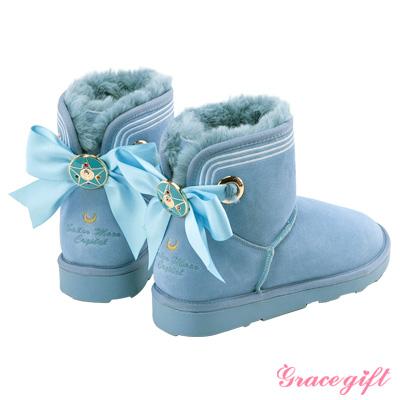 Grace gift-美少女戰士蝴蝶結變身器雪靴 淺藍