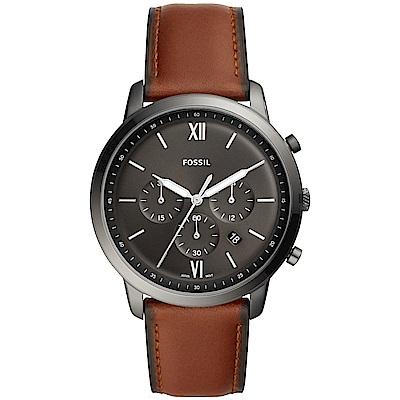 FOSSIL NEUTRA 時尚流行計時手錶(FS5512)-黑x咖啡錶帶/44mm