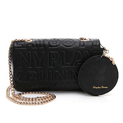 PLAYBOY- 鍊帶斜背包 Fashion Brand 時尚烙印系列-黑色