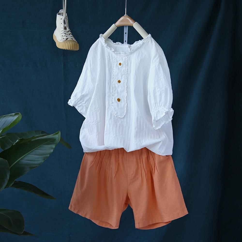 寬鬆花瓣領拼接純棉中袖T恤套頭衫上衣-設計所在