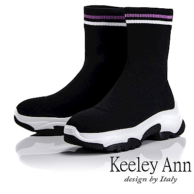 Keeley Ann 樂活運動風~彈性布休閒襪套式短靴(黑色-Ann)