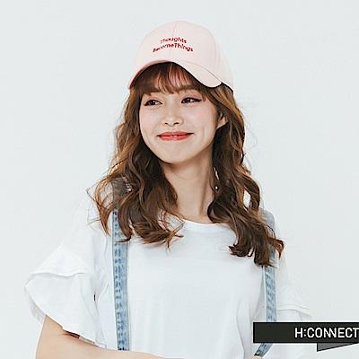 H:CONNECT 韓國品牌- 後綁結繡字棒球帽-粉