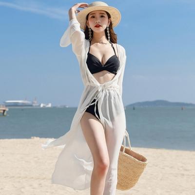 Biki比基尼妮,輕雲長罩衫薄外罩泳衣可內搭比基尼-米白(單外罩)