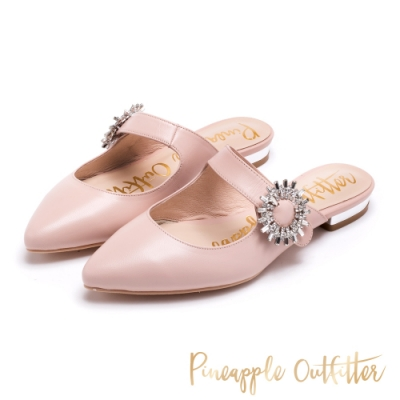 Pineapple Outfitter-Fithoic捷克鑽飾釦尖頭低跟鞋-粉藕色