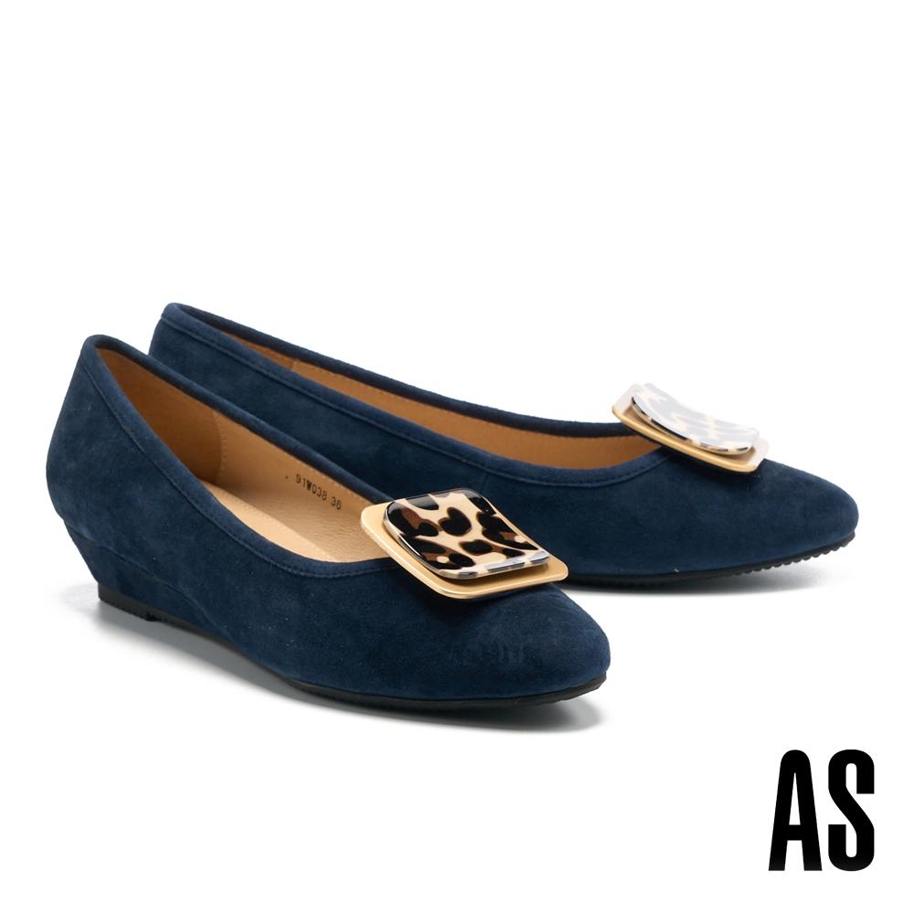 低跟鞋 AS 時尚豹紋金屬方釦全真皮楔型低跟鞋-藍