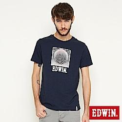 EDWIN 裸視3D-E字短袖T恤-男-丈青