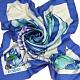 PRADA 義大利製優雅夢想圖騰字母LOGO造型正方絲巾(藍色系) product thumbnail 1