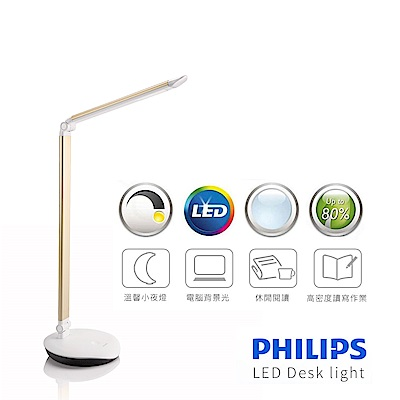 【飛利浦 PHILIPS LIGHTING】LEVER酷恆LED檯燈(金色)72007