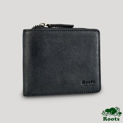 Roots男用拉鍊皮革短夾-黑色