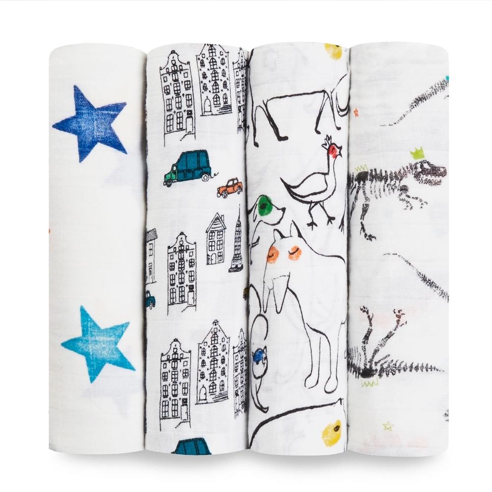 美國aden+anais  輕柔新生兒包巾(4入)-塗鴉系列AA2068