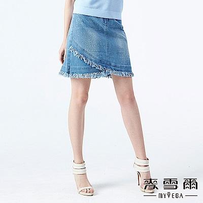 【麥雪爾】棉質水鑽斜裁抽鬚水洗牛仔裙