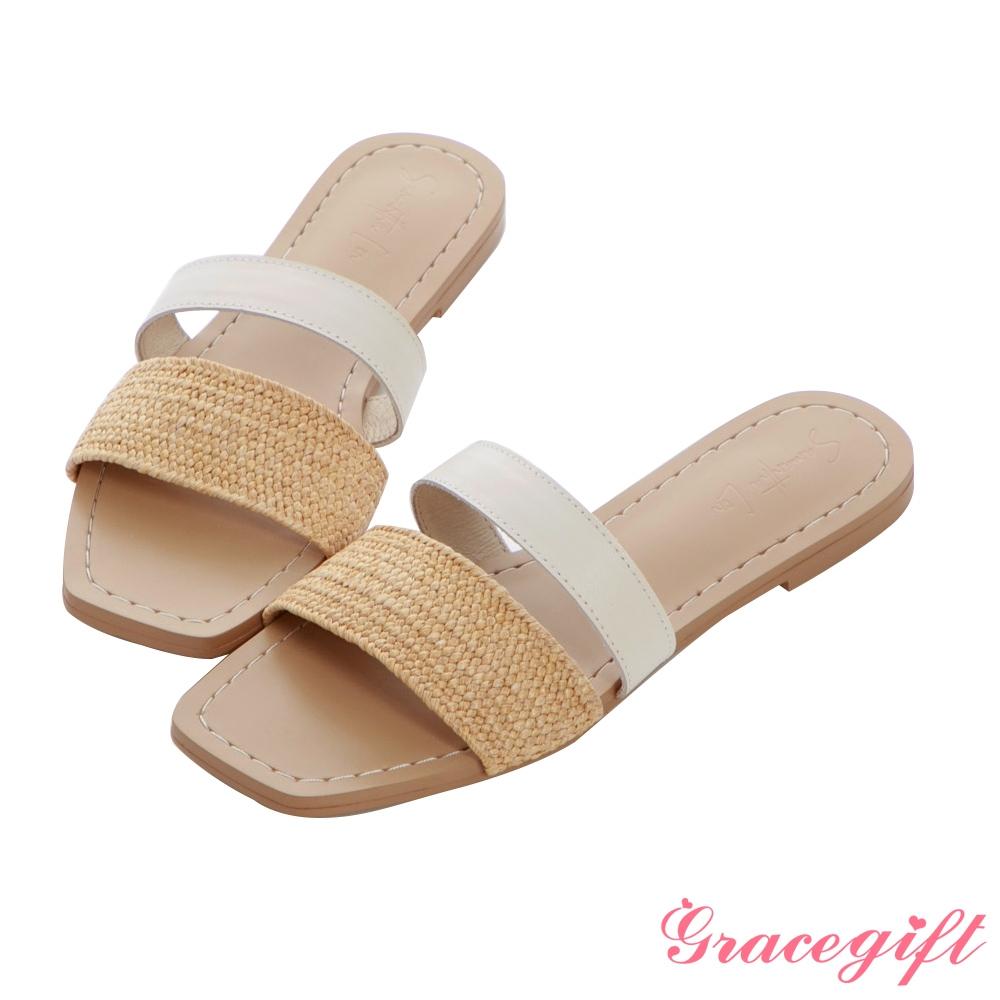 Grace gift X Samantha聯名-真皮編織雙帶平底涼拖鞋 米他料