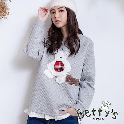 betty's貝蒂思 小熊毛呢荷葉拼接T-shirt(淺灰)
