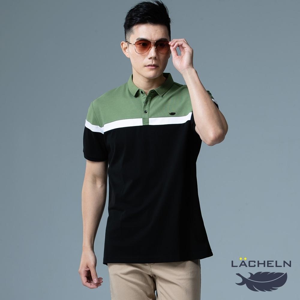 【LACHELN】男款-抗UV高彈都會拼接POLO衫-黑拼綠色(L92M903)