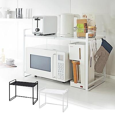 【YAMAZAKI】tower伸縮式微波爐架(白)★廚房用品/微波爐架/置物架/收納架