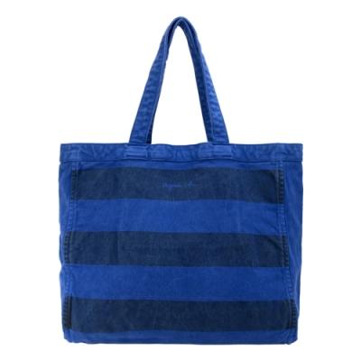 agnes b.仿舊條紋托特包-藍